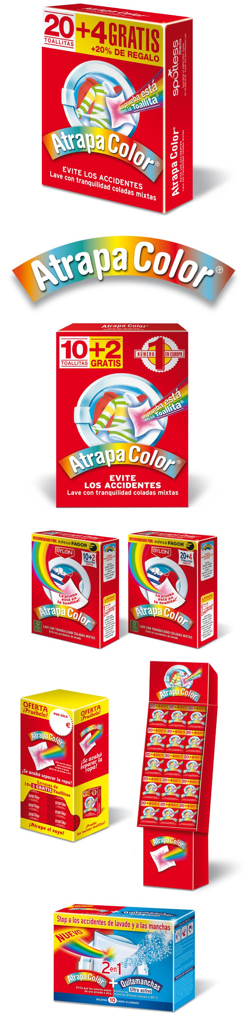 Logotipos y packaging de la marca de limpieza Atrapacolor
