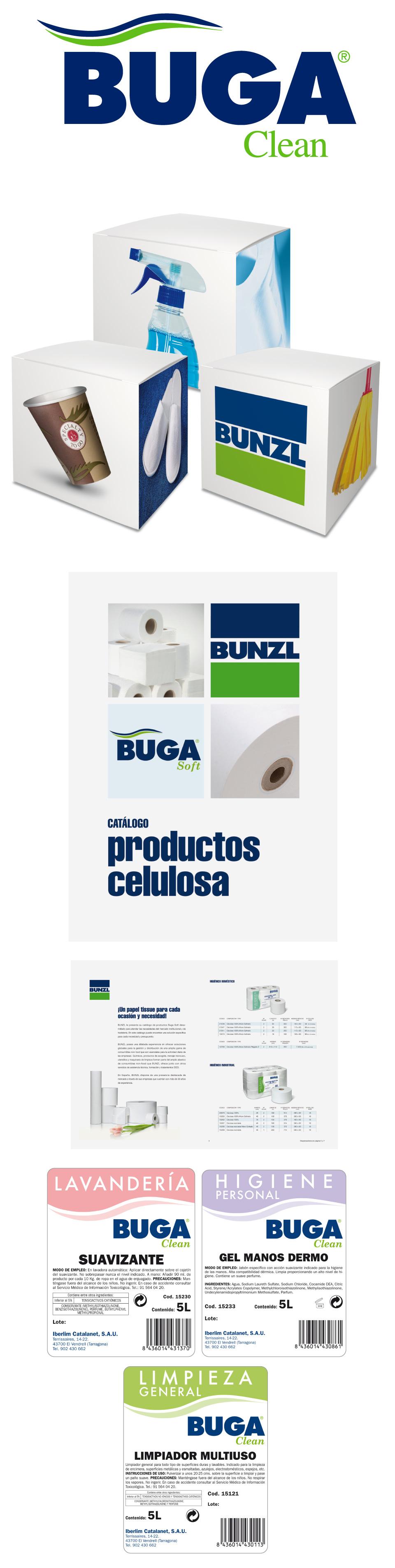 Logotipos, packaging y trípticos de la marca de limpieza Buga