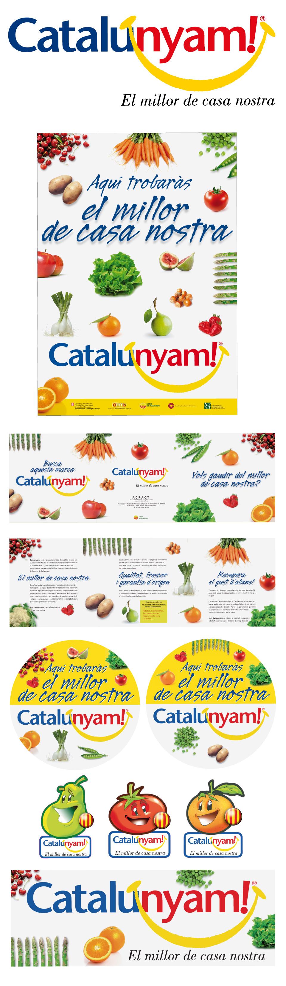 Logotipos, carteles, trípticos, adhesivos para la nevera, PLV y cartela de Catalunyam!