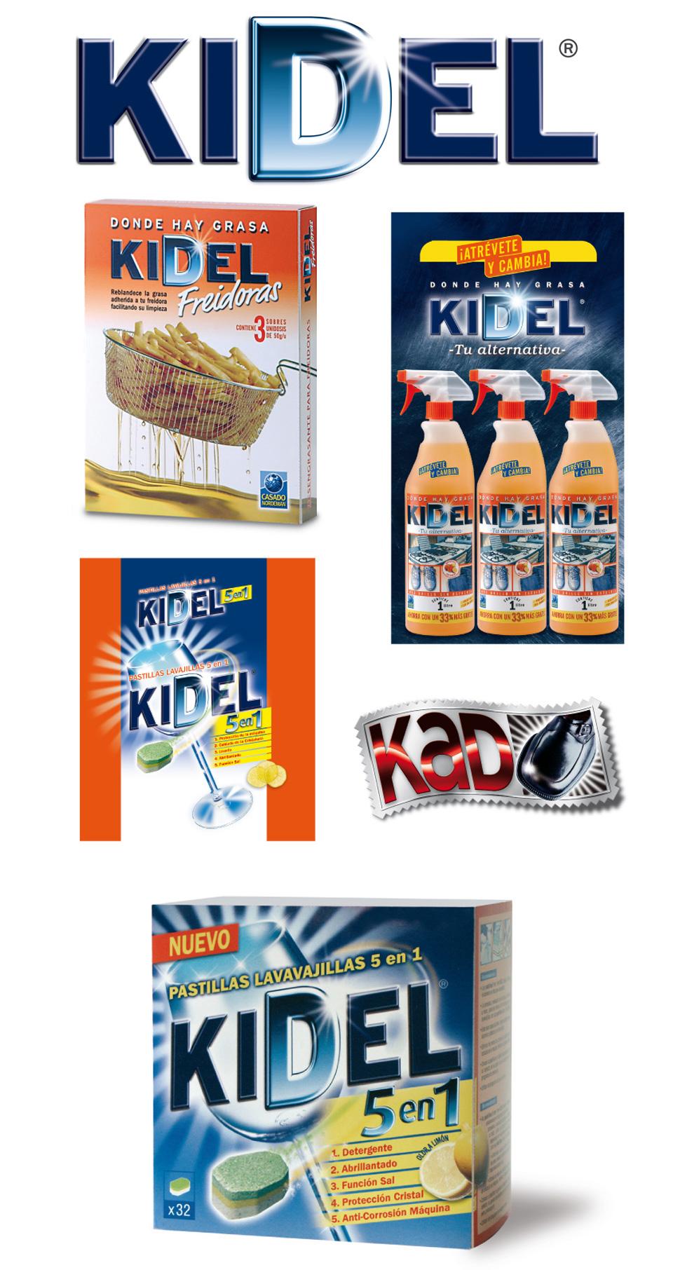 Logotipos, packaging y trípticos de la marca de limpieza Kidel