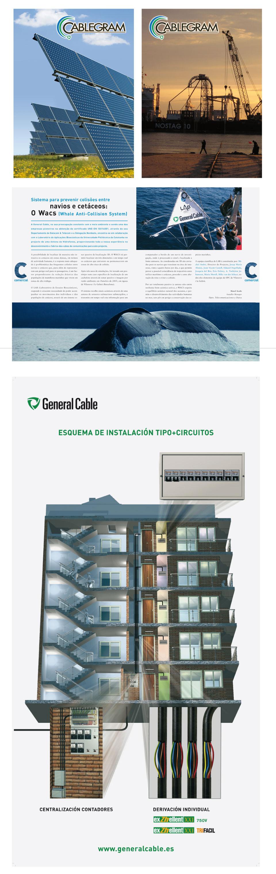 Logotipos, páginas de revista y prensa y carteles de General Cable