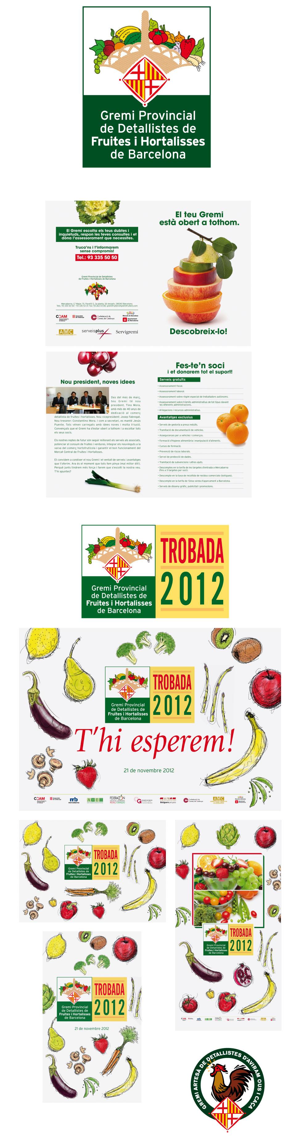 Logotipos, packaging y trípticos del Gremi Provincial de Detallistes de Fruites i Hortalisses de Barcelona