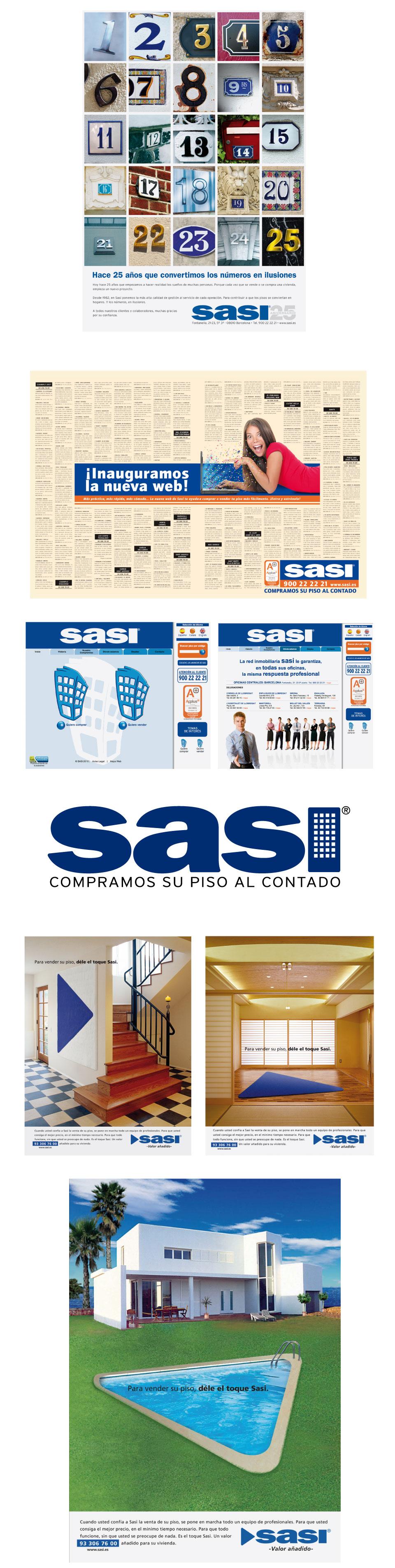 Logotipo y páginas de prensa y revistas de la inmobiliaria Sasi